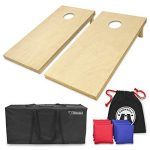 GoSports Solid Wood Premium Cornhole Set – Choose Between 4'x2′ or 3'x2′ Game Boards | Includes Set of 8 Corn Hole Toss Bags