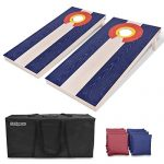 GoSports Colorado Regulation Size Solid Wood Cornhole Set – Colorado Flag – Includes Two 4′ x 2′ Boards, 8 Bean Bags, Carrying Case & Game Rules