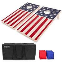 GoSports Regulation Size Stable Wooden Cornhole Website – American Flag Impact – Consists of Two 4' x 2' Boards, 8 Bean Bags, Carrying Case and Game Guidelines