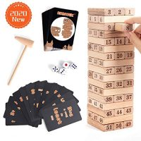 KODATEK 121 Pieces Wooden Stacking Video games, for Teenagers Adult Party and Households, Wooden Tower Teenagers's Technique Puzzle Game with Numbers Cards and Penalty Cards