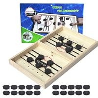 Pruk Sling Foosball Board Game, Snappily Sling Puck Game, Desktop Ice Hockey Battle Game, Traditional Father or mother-Baby Interactive Toys, Wooden Foosball Winner Game for Kids and Adults