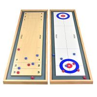 GoSports Shuffleboard and Curling 2 in 1 Desk Top Board Game with 8 Rollers – Monumental for Family Fun (SHFL-01)