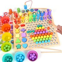 XREXS Wood Peg Board Bead Sport, Montessori Tutorial Toys for Ages 2 3 4 5 Years Outdated, Quantity Form Puzzle Magnetic Fishing Sport for Minute…