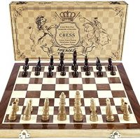 AMEROUS Chess Procedure, 15″x15″ Folding Magnetic Wooden Customary Chess Sport Board