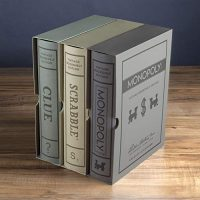 Scrabble, Monopoly, and Clue Vintage Board Game Bookshelf Sequence